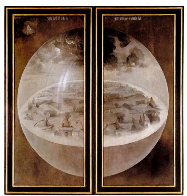 Jérôme Bosch(1450-1516), Le Jardin des délices, tableau fermé, vers 1495-1505, Museo Nacional del Prado, Madrid, dimensions une ouvert : 220 x 386 cm.
