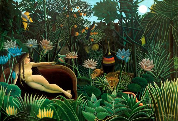 Henri Rousseau (Henri Julien Félix Rousseau) aussi appelé Le Douanier Rousseau (1844-1910). Le rêve, 1910, huile sur toile, 204,5cm x 299cm. MOMA, New-York.