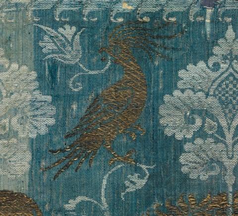 Fragment à décor d'oiseaux et de lions, Lucques (?), seconde moitié du XIVe siècle,